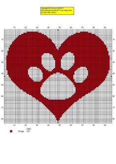 Cross stitch dog paw heart