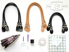 Step-by-step tutorial & Free PDF by Sallie Tomato. Add leather handles to Aster Handbag and Boronia Bowler Bag by Blue Calla Patterns, or any purse pattern! Leather Bag Tutorial, Leather Wallet Pattern, Sewing Leather, Leather Handle, Leather Purses, Leather Handbags, Diy Bags Purses, Bag Pattern Free, Diy Tote Bag