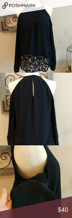 Michael Kors Cold Shoulder Blouse Beautiful lined cold shoulder blouse with lace detail. EUC only worn a couple of times. No rips, stains or piling. Its a lovely blouse. Its navy although the pics make it look black. Michael Kors Tops Blouses