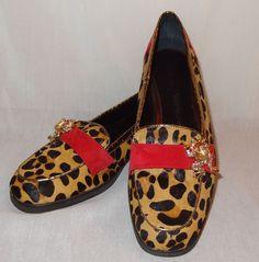 Beverly Feldman Slip on Loafer Leopard Calf Hair Suede Size 8M Bling Frogs Shoes #BeverlyFeldman #Loafers #Formal