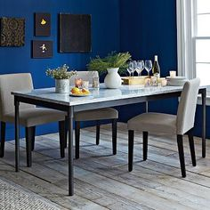Love the contrast between the wall color and the table.  Mix + Match Table - Industrial Steel Base / Marble Top #WestElm