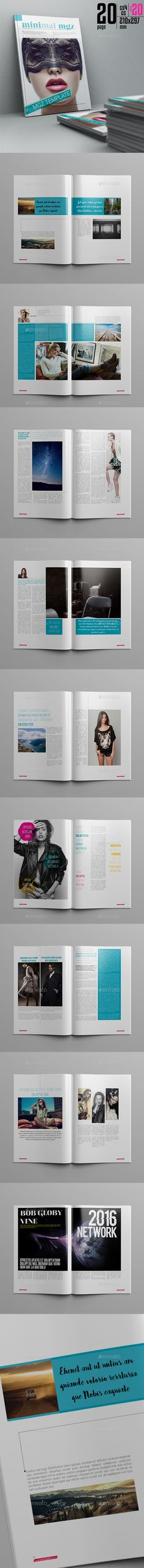 Minimal Magazine 20 Pages Template InDesign INDD #design Download: http://graphicriver.net/item/minimal-magazine-template-20-page/14276077?ref=ksioks