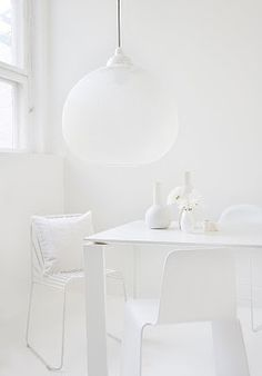 """White Interiors"" by http://www.leuchtend-grau.de/  White on white, homewares and light - moooi #white#homewares#dining"