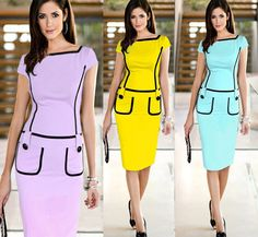 2014 Chic Women Yellow Short Sleeve Button Pockets Casual Wear to work Pencil Dress Fashion OL Career Knee-length Dresses S-XXL