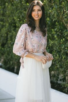 Shop the Shay Floral Dotted Blouse - boutique clothing featuring fresh, feminine and affordable styles. Wedding Guest Style, Floral Blouse, Affordable Fashion, Boutique Clothing, Lace Skirt, Tulle, White Dress, Feminine, Formal Dresses