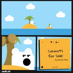 Zedl Strips - Coconut. A web comic by Byrds & Bytes showing some of the usercases of the Zedl App. Zedl ist a mapbased, local & social network.
