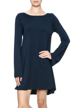 V-back navy bluedress with mini bell sleeves. This dress is a throw on and go!  V-Back Miguel Dress by Michael Lauren. Clothing - Dresses - Long Sleeve Clothing - Dresses - Casual Dallas Texas