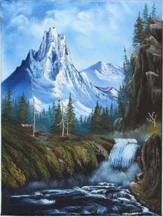 """Royal Majesty by Bob Ross"" Canvas Wall Art - Canvas Wall Decor Bob Ross Paintings, Scenery Paintings, Mountain Paintings, Landscape Art, Landscape Paintings, Landscape Photography, Oil Painting Pictures, Pictures To Paint, Orlando Floride"