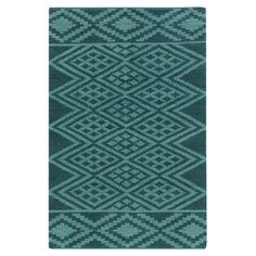 Tess Rug  tribal-inspired motif in teal and turquoise