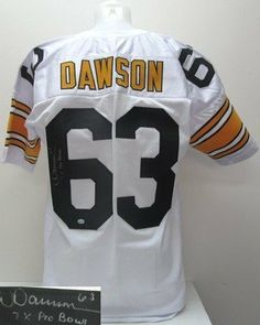 """Dermontti Dawson Signed Prostyle Custom White Jersey SI . $149.00. Featured is aDermontti Dawson Signed Custom White Jersey, which is inscribed """"7X Pro Bowl"""". This jersey was hand signed by Dawson at a private signing and includes a Sports Integrtiy hologram and Certificate of Authenticity. Dermontti Dawson is a former football center. He played his entire career with the Pittsburgh Steelers, and was elected to the Pro Football Hall of Fame in 2012.Dawson..."""