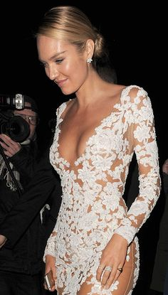 LOVE lace dresses with nude undertone! (tho maybe not quite this much of a plunge)