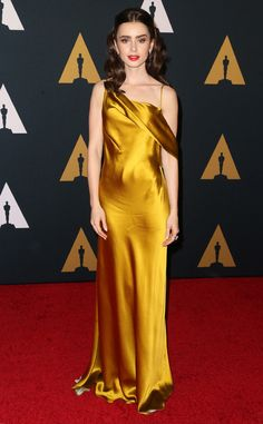 Lily Collins from Governors Awards 2016 Red Carpet Arrivals  The actress dazzles in gold.
