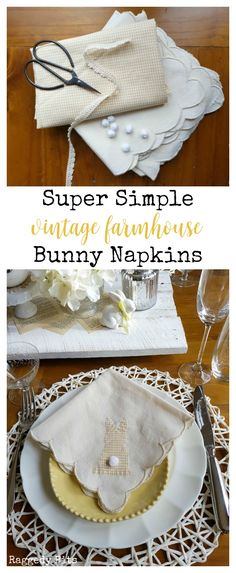 A super simple Vintage Farmhouse Bunny Napkins project that would make a perfect addition to any Spring/Easter Table or make a sweet gift | Full Tutorial | www.raggedy-bits.com