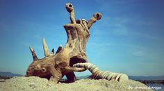 Driftwood art in Hungary by tamas kanya land art