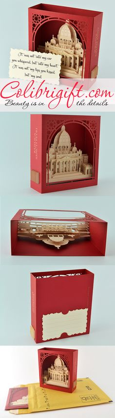 #birthday #card #popup #kirigami #origami #italy #peters basilica #greeting card #red #luxury #unique #gift #invitation