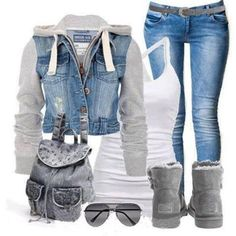 Denim jeans and jacket with grey uggs and bag