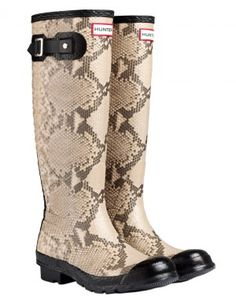 Hunter Ladies' Carnaby Snake Wellington Boots - Natural