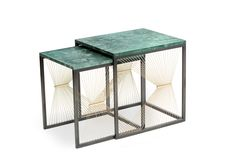 AEGIS001 nesting tables marble brass steel wire contemporary modern new design side square