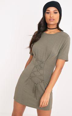 fa25686b19 Benayah Khaki Jersey Corset Detail T Shirt Dress Corset Shirt