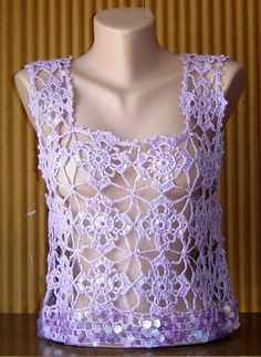 Hand Crochet Lilac Cotton Top with Sequins Spring Summer Fall Winter Women Clothing Accessory Wedding Top by sebsurer, $60.00
