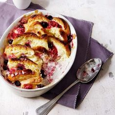 This shortcut bread and butter pudding recipe is made with berries and lemon curd for a summery twist.
