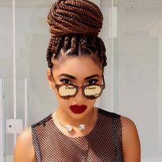 Easy Box Braids for Busy Dark Women Blonde Box Braids, Big Braids, Braids With Beads, Box Braids Hairstyles For Black Women, Braided Hairstyles Updo, Trendy Hairstyles, Protective Braids, Protective Hairstyles, Protective Styles