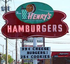 """Henry's Hamburgers"" Vintage Neon Sign - Benton Harbor, Michigan"