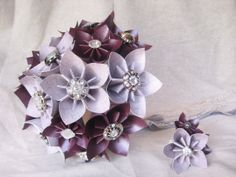 Paper flower bridal bouquet in eggplant lilac by thesundayflower, $100.00