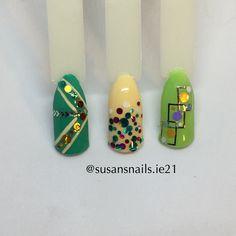 Nail art - green & yellow