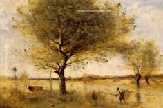 Camille Corot Pond with a Large Tree, 1865, painting Authorized official website