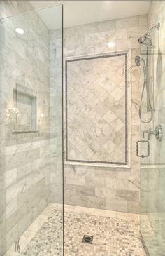 Shower Tile Designs plus bathroom floor and shower tile ideas plus master bathroom shower tile ideas plus marble mosaic tile Modern Small Bathrooms, Small Bathroom Tiles, Beautiful Bathrooms, Shower Bathroom, Bathroom Ideas, Modern Bathroom, Bathroom Marble, Minimalist Bathroom, Shower Floor