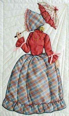 Mujer antigua sombrilla