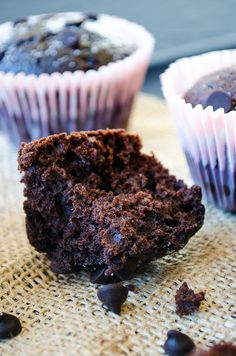 My Best Chocolate Muffins. These are the best because they are fudgy, rich in chocolate, very easy to make and contain a little olive oil | giverecipe.com | #chocolate #muffin
