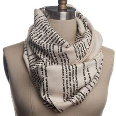 """Infinty scarf with a page of Charolette Bronte's book """"Jane Eyre"""" printed on it!"""
