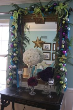 jewel toned christmas decor  carnation topiaries #thespecialeventflorist