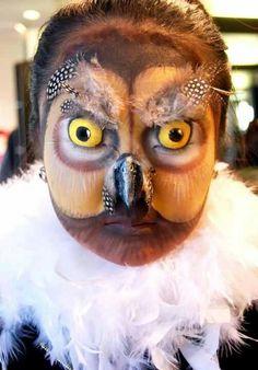 Tolles Halloween Make-up: Eule. Lerne wies geht beim TeenEvent Fantasy Make-up Event:http://www.teenevent.de/events/make-up-academy/  #halloween #make-up