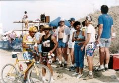 """Tinker Juarez and mom Rose at Cindy Whitehead Palm Springs Classic, 1989 during the filming of """"Ultimate Mountain Biking: Advanced Techniques and Winning Strategies"""" produced by San Diego video production company Crystal Pyramid Productions (Photo by Patty Mooney) -  http://sandiegovideoproduction.com/ultimate-mountain-biking-video/"""