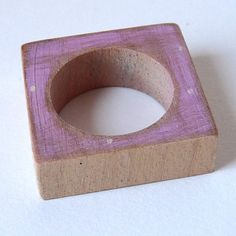 Square wooden ring in soft pink by bhmakes at Folksy.com