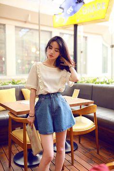 T シャツ - 韓流スタイル夏新作可愛いフリル裾飾りコーデ多様な半袖丸襟Tシャツ