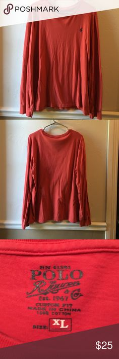 Polo by Ralph Lauren crew neck long sleeve Crew neck muted red good condition rarely worn with no rips stains or pills. Would be a great addition to your fall wardrobe. Polo by Ralph Lauren Shirts Tees - Long Sleeve