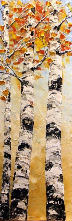 Original Birch Tree Painting Palette Knife by natasartstudio
