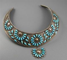 Vintage Navajo Fm Begay Sterling Petit Point Turquoise Flowers Collar Necklace photo