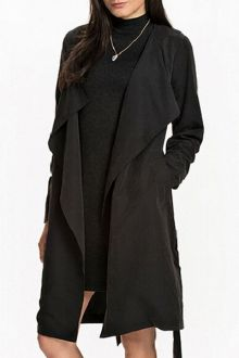 Self Tie Turn Down Collar Long Sleeve Trench polyester $19