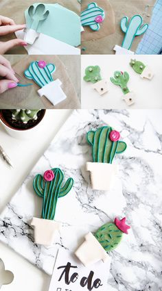 Creative DIY idea to do it yourself: DIY cactus magnets made of polymer clay DIY from modeling clay Cactus DIY Polymer Clay Magnet, Clay Magnets, Polymer Clay Crafts, Crafts For Boys, Diy Crafts To Sell, Arts And Crafts, Diy Tumblr, Diy Fimo, Diy Clay