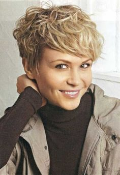 cute short wavy curly pixie cut