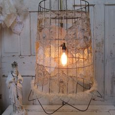Rusty basket lighting shabby embellished with by AnitaSperoDesign