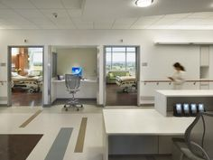 Nursing unit support rooms at Einstein Medical Center Montgomery in East Norriton, Pa., designed by Perkins+Will, are sited away from patient rooms to mitigate noise at the bedside, with satellite charting alcoves provided between rooms, as well. Credit: Halkin Mason Photography.