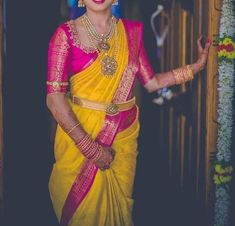 yellow wedding saree designs