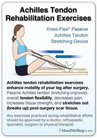 Achilles tendon passive stretching with a Knee-Flex device will help to break up scar tissue.