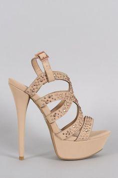e8b97029b62d Anne Michelle Rhinestone Strappy Open Toe Platform Heel Your Shoes